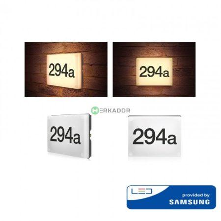 V-TAC alkonykapcsolós LED házszám tábla, világító házszámtábla 230V - Samsung chip - 781