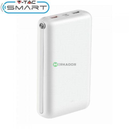 V-TAC Smart 30.000 mAh powerbank gyorstöltés funkcióval, fehér - 8902