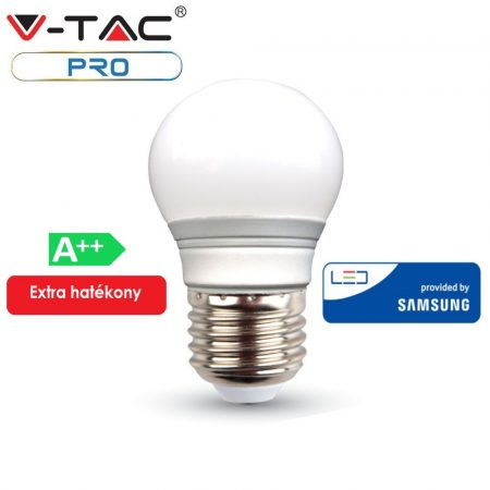 V-TAC PRO A++ 4.5W E27 LED izzó, 3000K - Samsung chip - 261