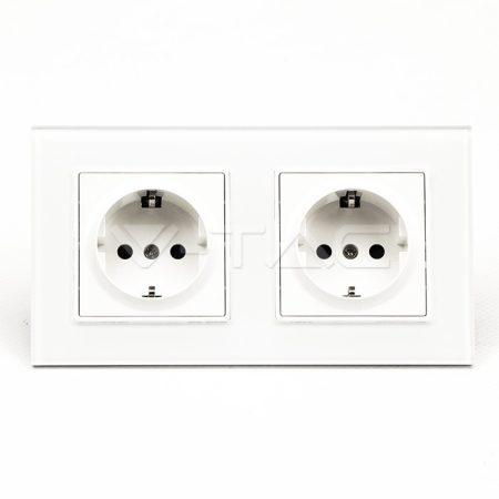 V-TAC süllyesztett fali konnektor aljzat, gyerekzáras dupla dugalj üveg kerettel - fehér - 8402
