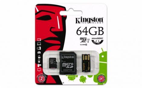 Kingston microSDXC 64GB Class10 memóriakártya + SD kártya adapter + USB olvasó