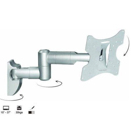 Csuklós LCD TV Fali tartó karos konzol 23 - 42 coll (dönthető, forgatható) - Ezüst