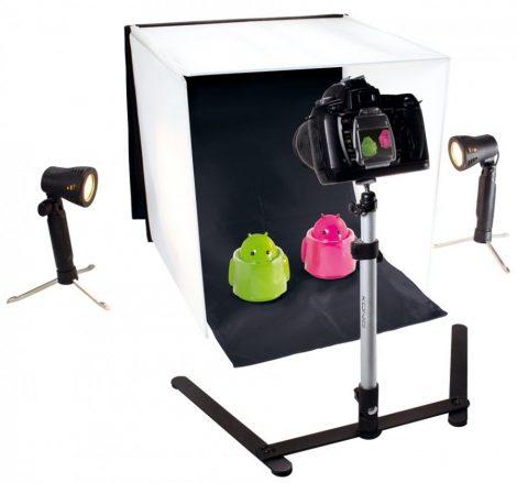 Mini fotó stúdió szett, 40x 40 cm fénysátor