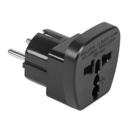 Multisocket EU-UK-USA utazó adapter, hálózati konnektor átalakító - fekete