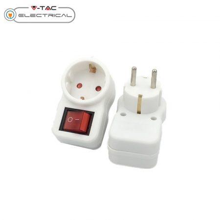 V-TAC kapcsolós dugalj, hálózati aljzat kapcsolóval - 8841