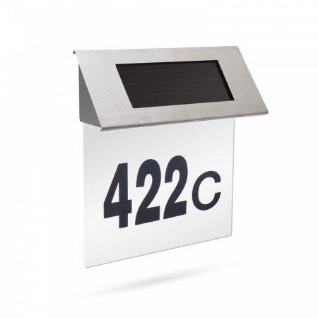 Napelemes házszám tábla, világító LED házszámtábla