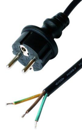 Szerelhető földelt gumírozott hálózati kábel 3m