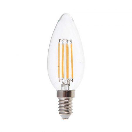 V-TAC filament 6W E14 COG LED gyertya izzó - meleg fehér - 7423