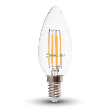 V-TAC filament 6W E14 COG LED gyertya izzó - hideg fehér - 7425