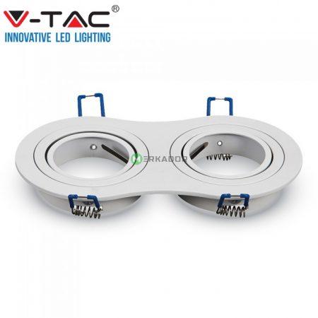 V-TAC 2xGU10 billenthető, süllyeszthető keret, fehér - 3601