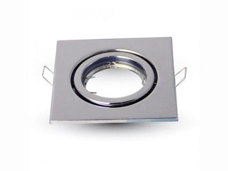 V-TAC billenthető beépíthető króm spot lámpa keret, lámpatest 99x99 mm - 3474