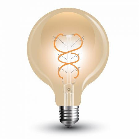 V-TAC filament 6W E27 G125 COG LED izzó - meleg fehér - 7328
