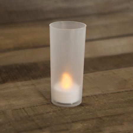 LED mécses fehér mécsestartóval, ajándék elemmel