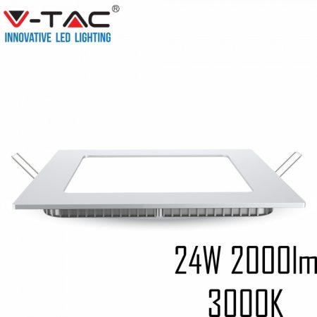 V-TAC süllyeszthető mennyezeti négyzet LED lámpa panel - 24W, meleg fehér - 4887