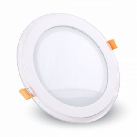 V-TAC süllyeszthető üveg LED lámpa panel - 12W, hideg fehér, kerek - 4743