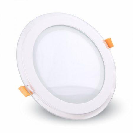 V-TAC süllyeszthető üveg LED lámpa panel - 12W, meleg fehér, kerek - 4744