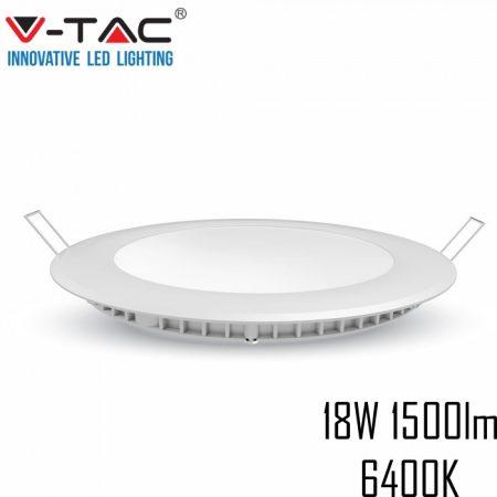 V-TAC süllyeszthető mennyezeti kerek LED lámpa panel - 18W, hideg fehér - 4862