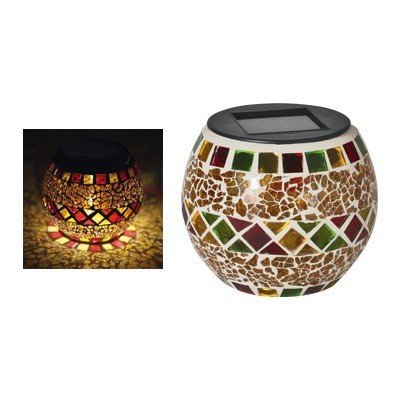 Napelemes LED mozaik mécses - borostyán