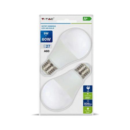 V-TAC 3 lépésben dimmelhető 9W LED izzó E27 foglalattal - 4448