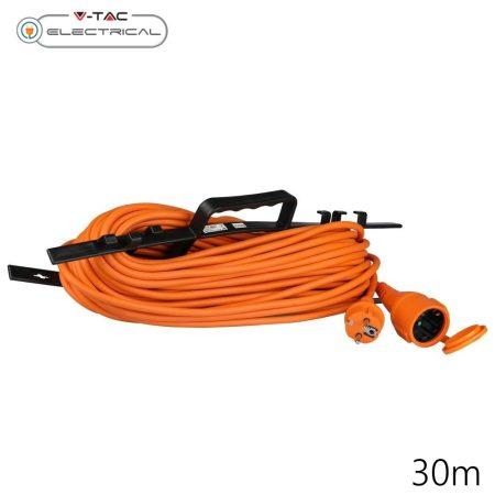 V-TAC narancs hálózati lengő hosszabbító, földelt 30m - 8815