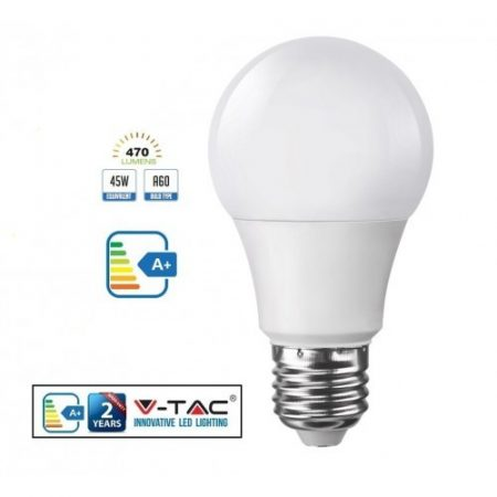 V-TAC 7W E27 A60 LED izzó - meleg fehér - 4376
