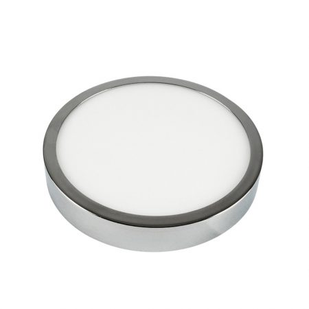V-TAC felületre szerelhető kerek LED lámpa panel, króm, 12W - 3000K - 6364