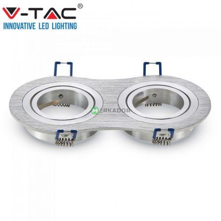 V-TAC 2xGU10 billenthető, süllyeszthető keret, szálcsiszolt alumínium - 3602