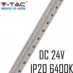 V-TAC beltéri SMD 24V LED szalag, hideg fehér, 700 LED/m - 2604