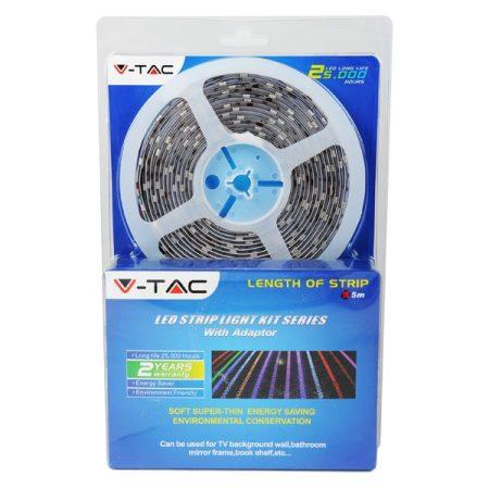 V-TAC 5m természetes fehér LED szalag szett, 3528 60 SMD LED/m - 2351