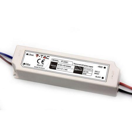V-TAC IP67 kültéri hálózati adapter, LED tápegység 12V 5A 60W - 3234