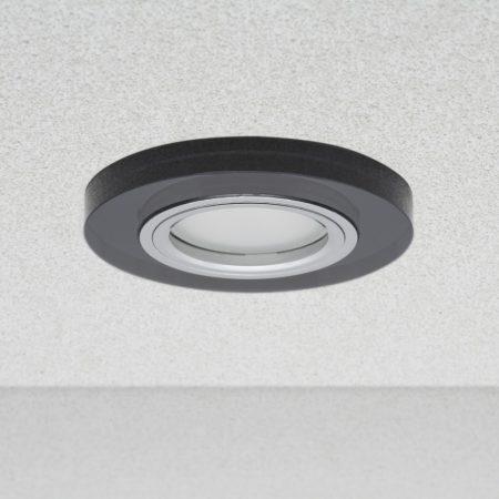 Phenomlight beépíthető GU10 LED spot lámpa keret, kerek fekete üveg fix lámpatest