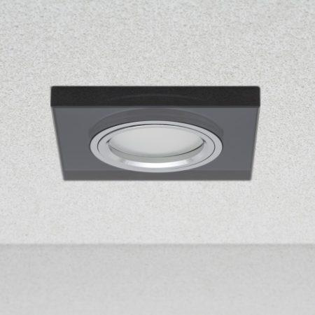 Phenomlight beépíthető GU10 LED spot lámpa keret, négyzet fekete üveg fix lámpatest