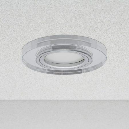 Phenomlight beépíthető GU10 LED spot lámpa keret, kerek tükrös üveg fix lámpatest