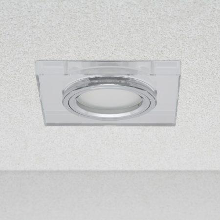 Phenomlight beépíthető GU10 LED spot lámpa keret, négyzet tükrös üveg fix lámpatest