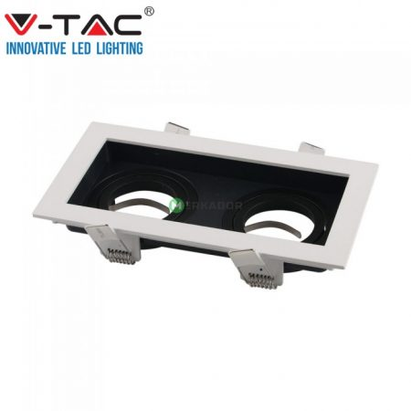 V-TAC 2xGU10 billenthető, süllyeszthető keret, fekete-fehér - 8877