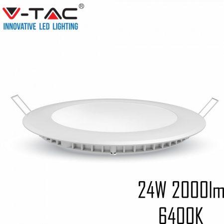 V-TAC süllyeszthető mennyezeti kerek LED lámpa panel - 24W, hideg fehér - 4874