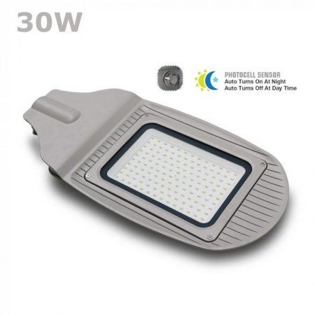 V-TAC utcai LED lámpa, kerti lámpatest póznára fényérzékelővel, 30W / hideg fehér - 5490