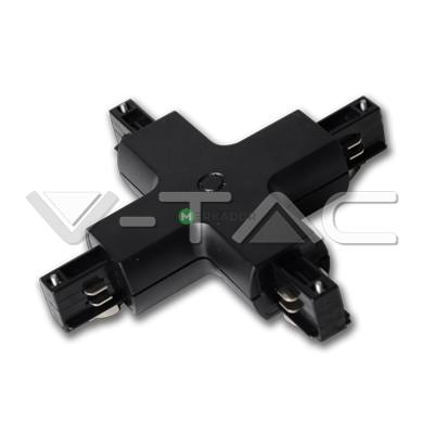 """V-TAC 3 fázisú fekete """"X"""" összekötő sínes lámpatestekhez - 3526"""
