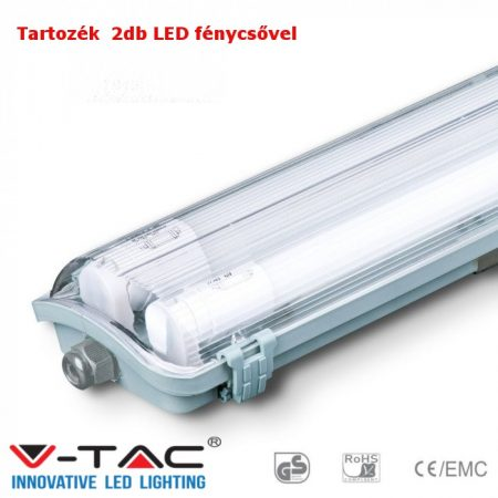 V-TAC T8 LED armatúra 150cm IP65 2db 6400K fénycsővel - 6400