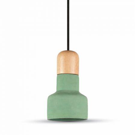 V-TAC mennyezeti lámpa, zöld beton csillár fa betéttel - 3856