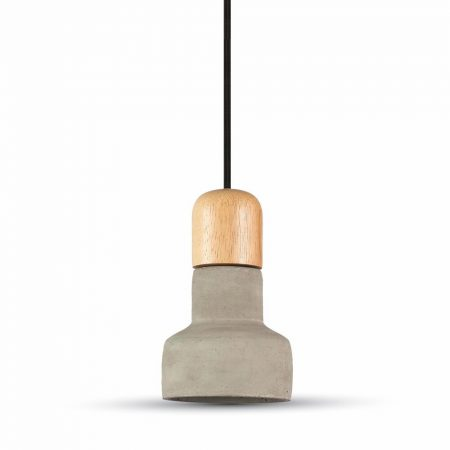 V-TAC mennyezeti lámpa, szürke beton csillár fa betéttel - 3855