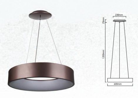 V-TAC 30W fényerőszabályozható csillár, kávébarna mennyezeti LED lámpa - 3997