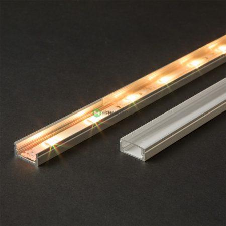 Felületre szerelhető LED szalag U profil átlátszó fedlappal - 1m