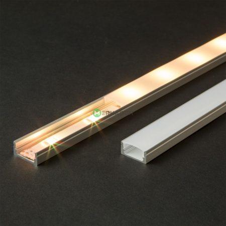 Felületre szerelhető LED szalag U profil fehér fedlappal - 1m