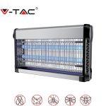 V-TAC elektromos rovarölő, szúnyogirtó - szúnyogriasztó UV lámpa, 2x20W - 11182