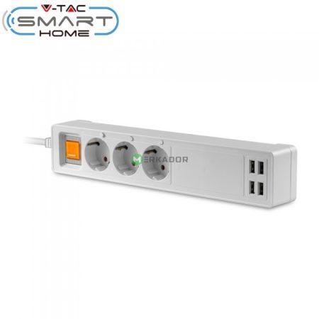 V-TAC Smart hálózati okos elosztó, USB töltővel - 8447